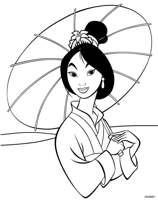 Mulan Coloring Page Mulan Disney Princess Coloring Pages