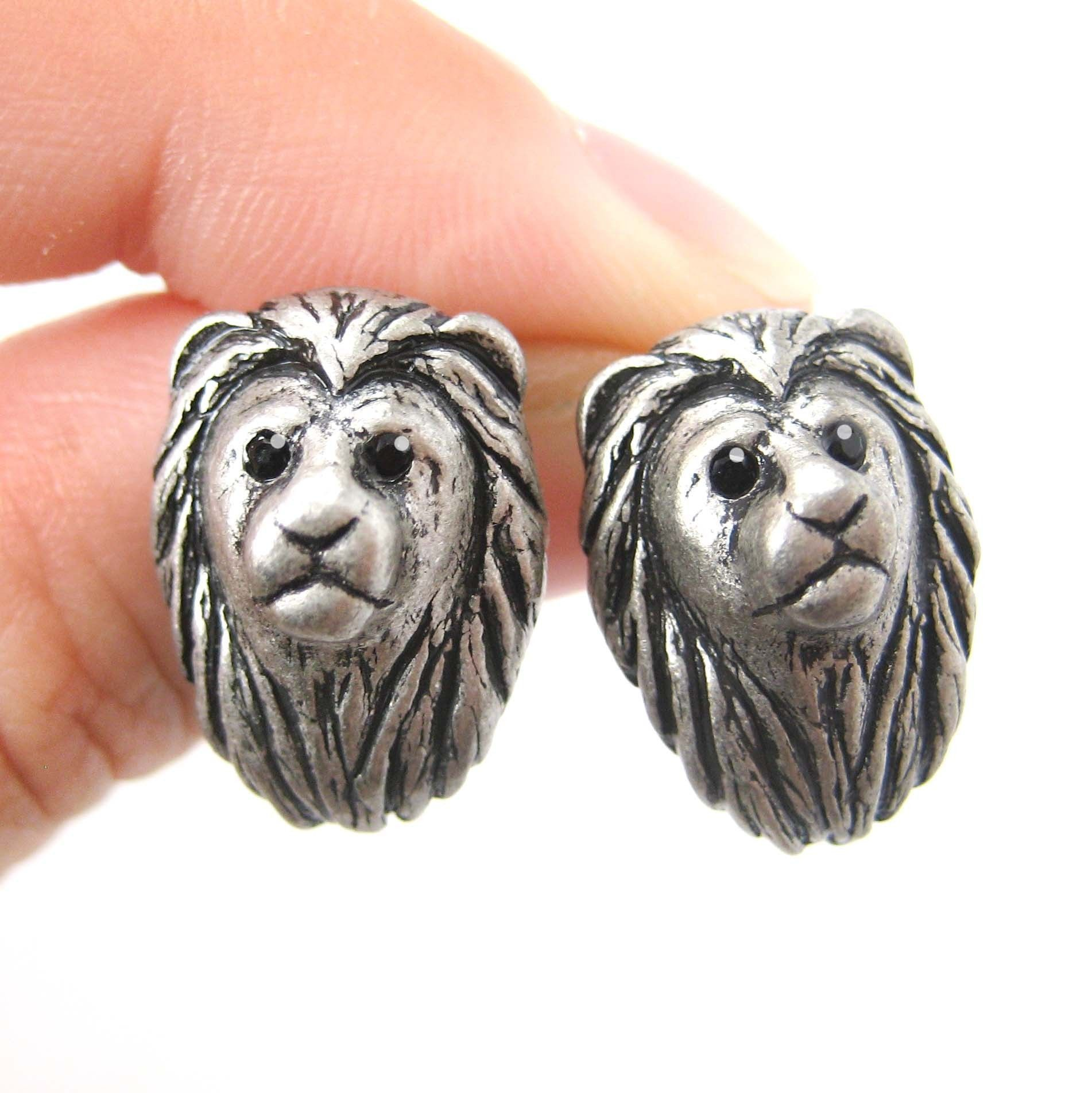 Lion Shaped Realistic Animal Stud Earrings in Silver | Animal Jewelry