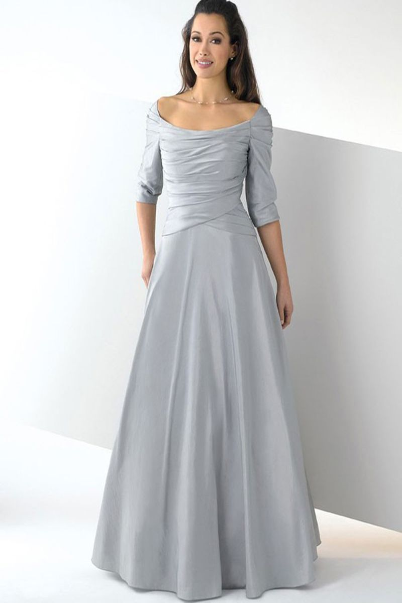 Silver wedding dresses plus size  Plus Size FloorLength Scoop Silver Satin Dress  Mother of the