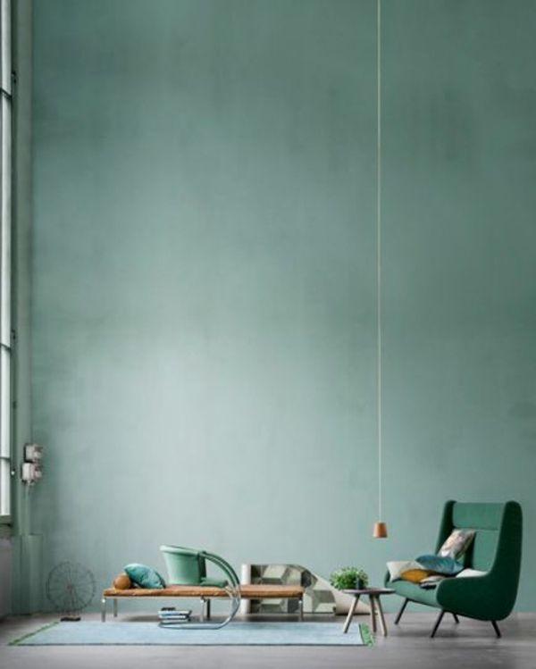 wandfarbe in grün farbideen wandgestaltung hoch zimmerdecke - farbideen wohnzimmer grun
