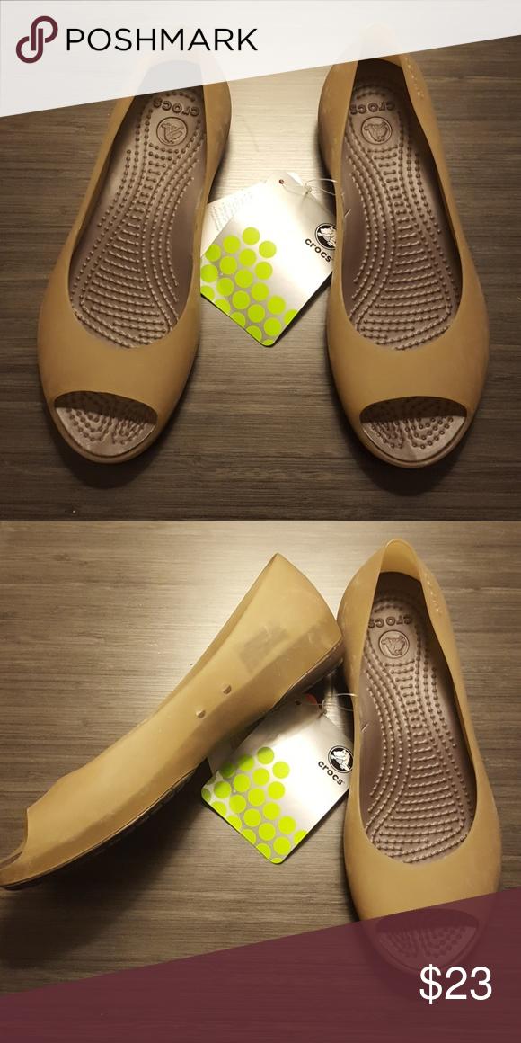 bdbc193c33dc5e NEW CROCS CARLIE BALLET FLATS OPEN TOE Brand New Carlie BALLET Crocs celery  color CROCS Shoes Sandals