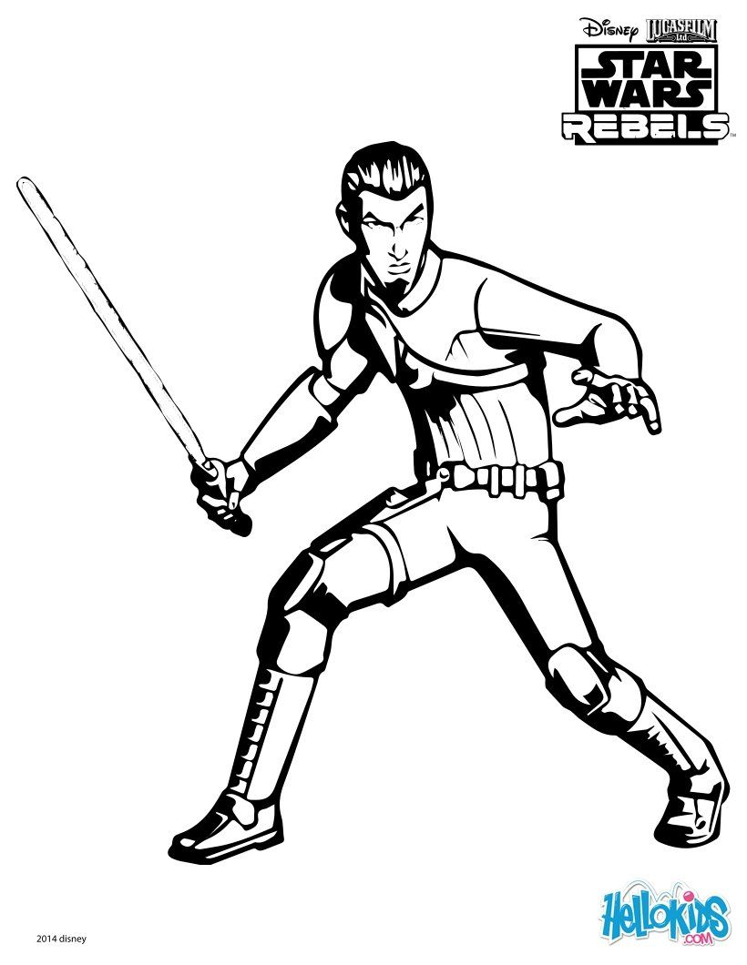 print out this free kanan coloring page and have fun - Star Wars Pictures To Colour In