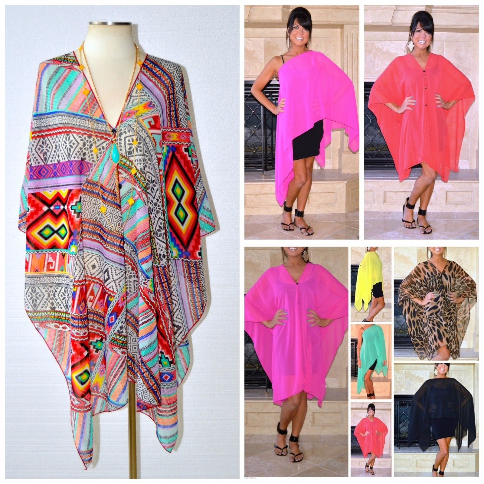 Ladies Sheer Convertible Summer Poncho Cover Up Multi Wear Top XS s M L XL 1x 2X | eBay