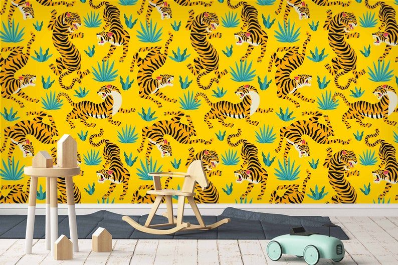 3d Animals Tiger Wallpaper Mural Peel And Stick Wallpaper Etsy In 2020 Mural Wallpaper Wall Murals Wallpaper