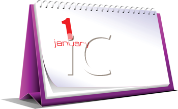 vector illustration of desk calendar 1 january new year