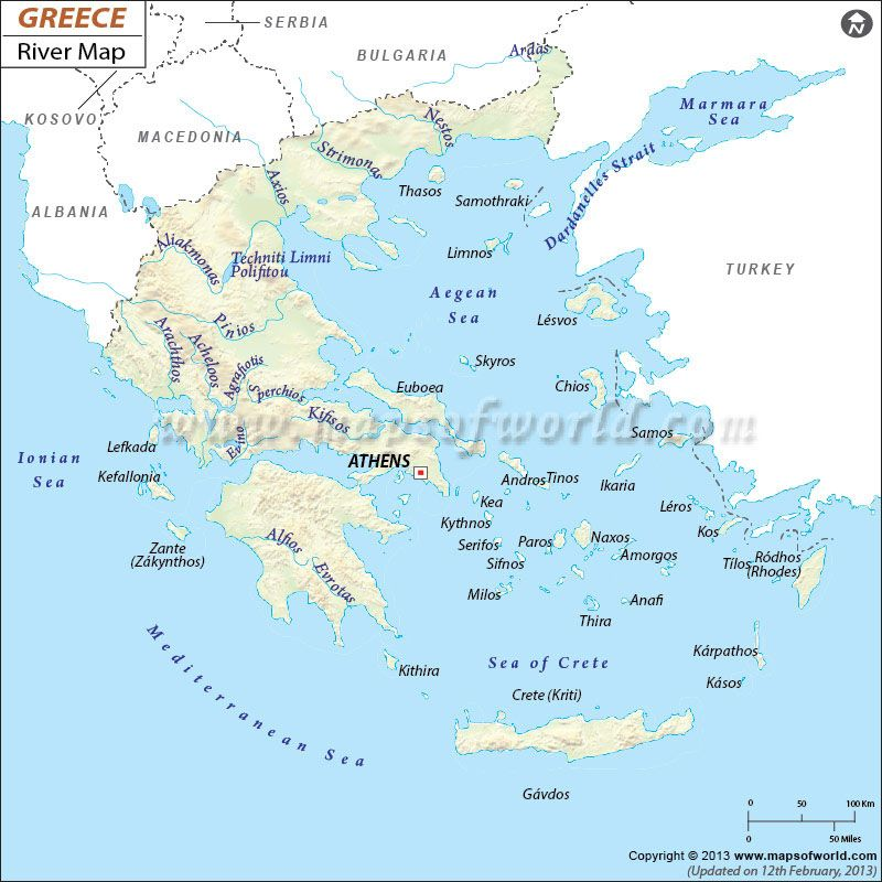 Greece Map Shows Cities Rivers And Oceans Seas Ancient Greece