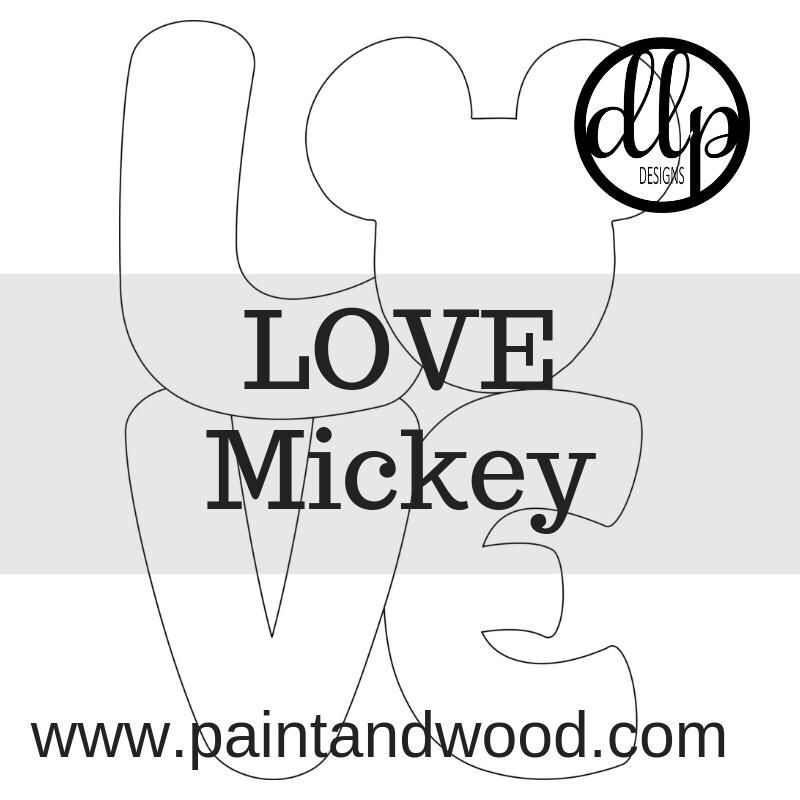 Love Mickey Mouse Door Hanger Unfinished Clip Art