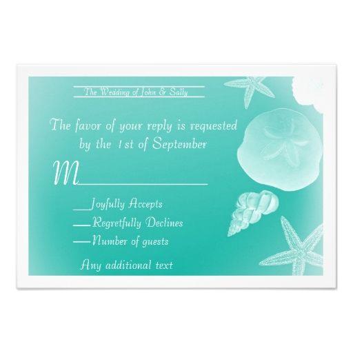 Seafoam Green Wedding Ideas: Seafoam Green Sea Shells Wedding RSVP Card