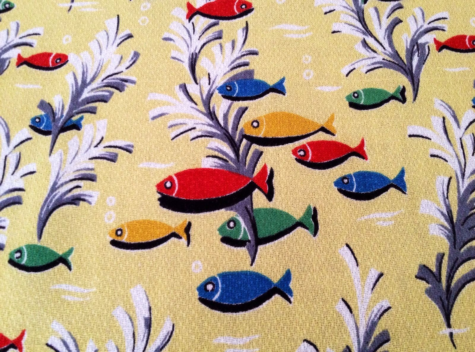 vintage barkcloth fish fabric