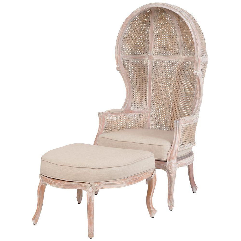 White Wash Rattan Balloon Chair And Ottoman
