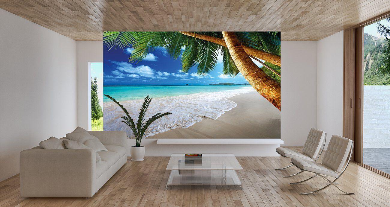 living room wall mural ideas beach with palm tree dream house