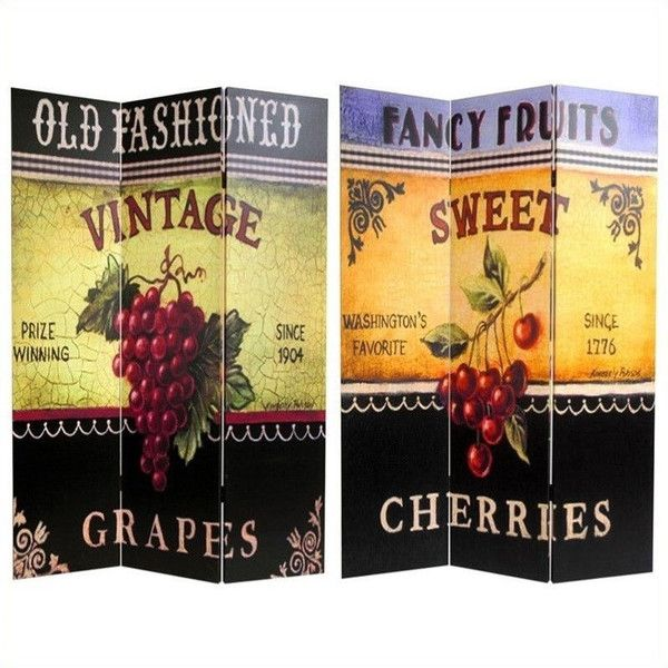 Oriental Double Sided Grapes and Cherries Canvas Room Divider (170