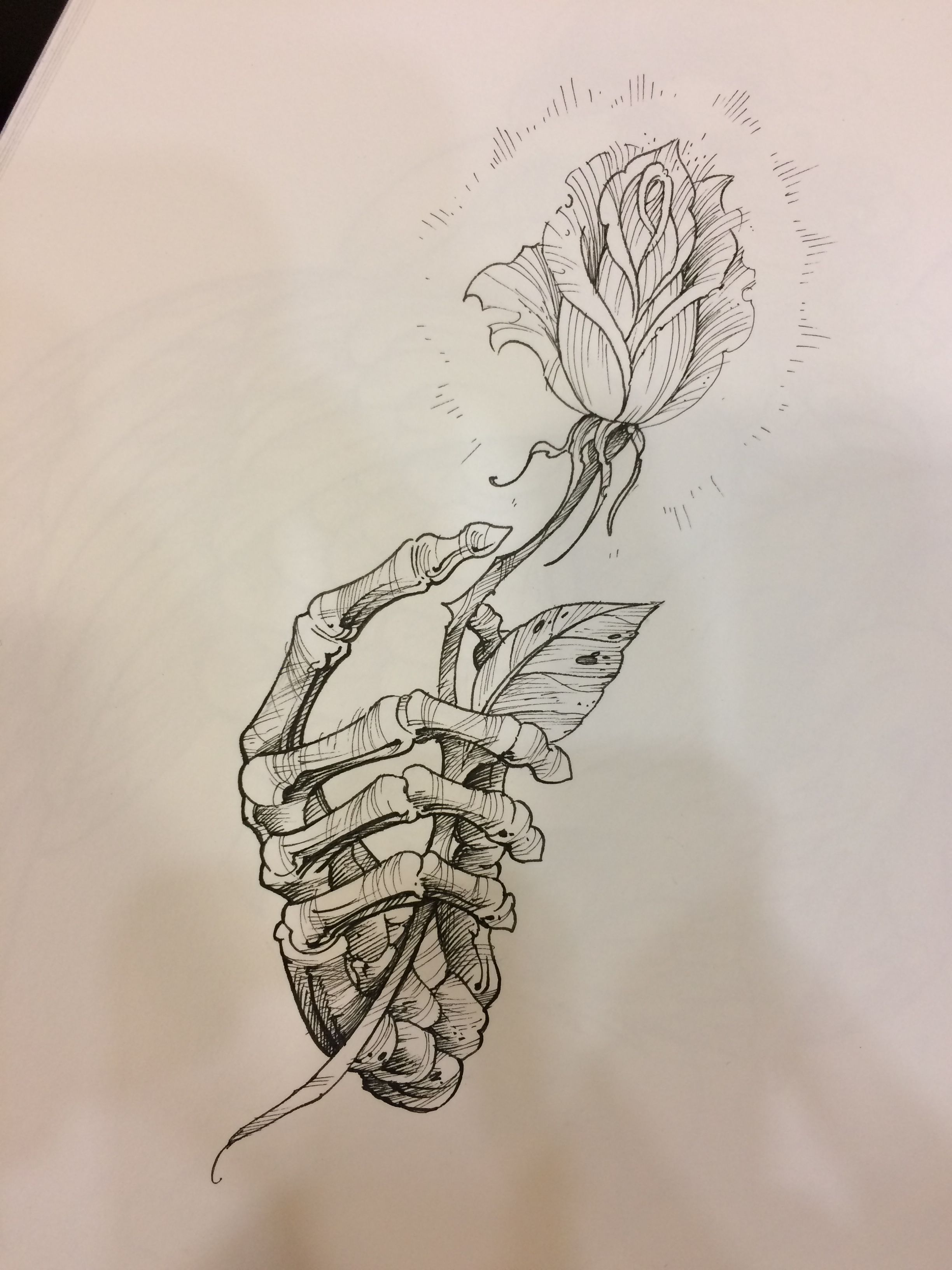 Rose and skeletal hand in 2020 Skull and rose drawing