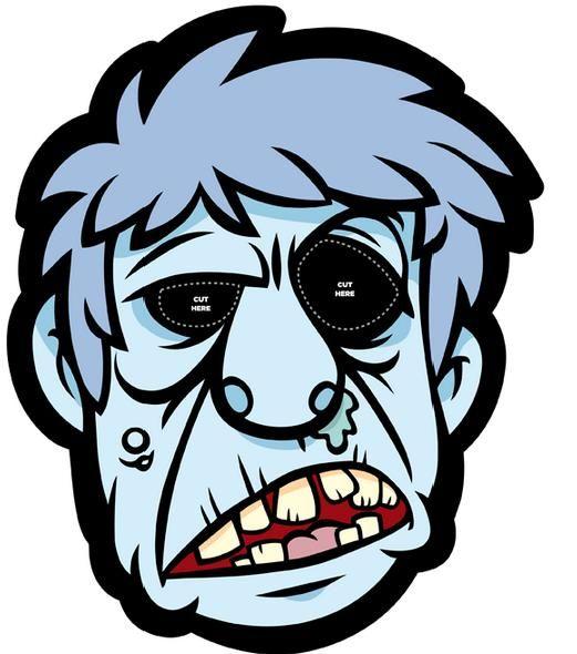 Recortables de dibujos de Halloween  Mscara de zombi  fiesta