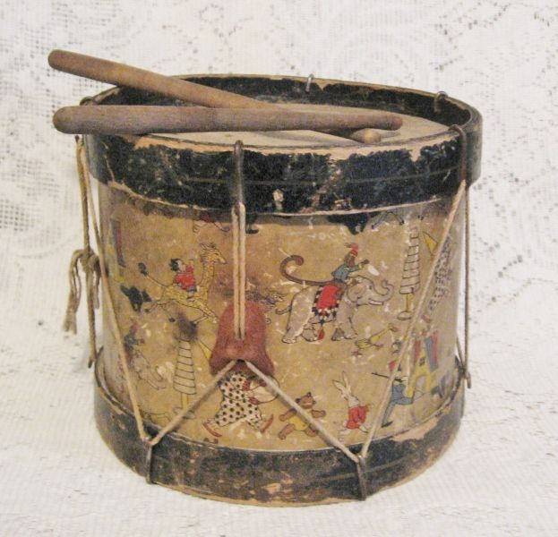 Early 1900s Toy Children S Circus Drum With Drumsticks