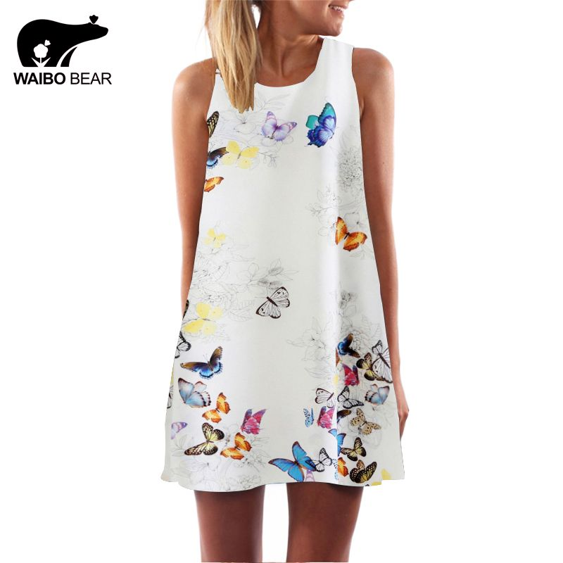 Women Butterfly Print O-Neck Mini Chiffon Dress 2016 Fashion Club Evening Party Sleeveless Casual Dresses Vestidos WAIBO BEAR