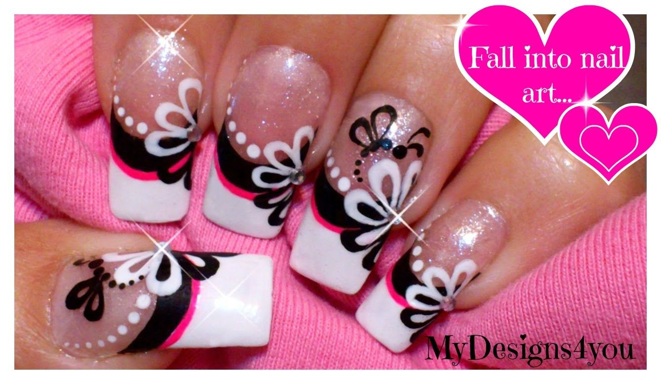 Floral Nail Art | Monochrome Flower French Using Dotting Tool ...
