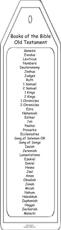 Old Testament Books of the Bible bookmark coloring page or