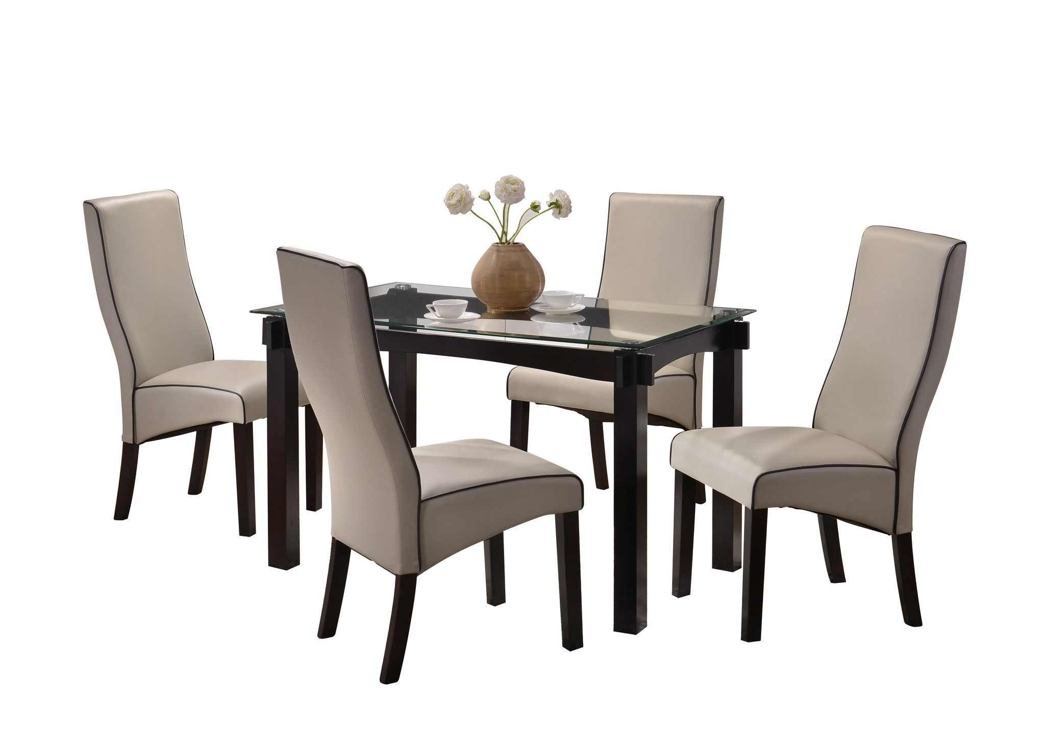 Pilaster designs wood and glass dining dinette set table u