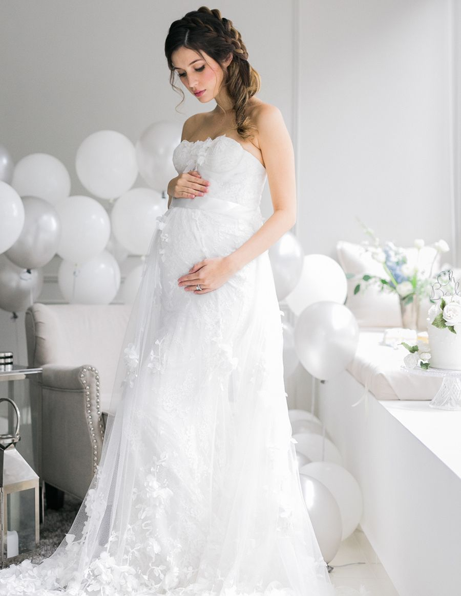 Two Peas In A Pod Sonya Davison S Twin Gender Reveal Maternity Bridal Gowns Pregnant Bride Pregnant Wedding Dress
