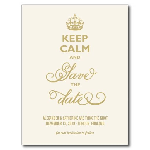 Vintage Elegant Keep Calm And Save The Date Funny Postcards