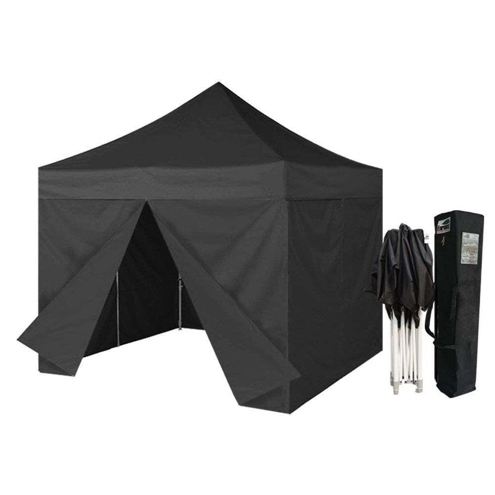 Eurmax 10 X 10 Ez Pop Up Canopy Gazebo Commercial Tent With 4 Zippered Sides And Carry Bag Black This Is An Amazon Affil Tent Pop Up Canopy Tent Canopy Tent