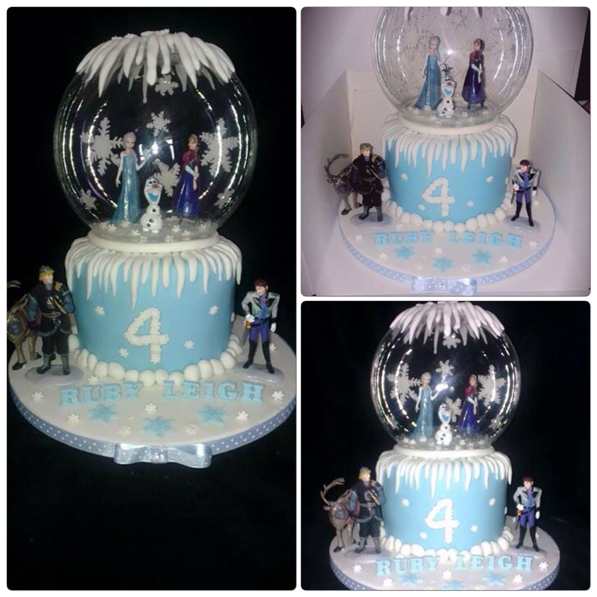 Magical Frozen themed snow globe cake Disneys Frozen Cakes