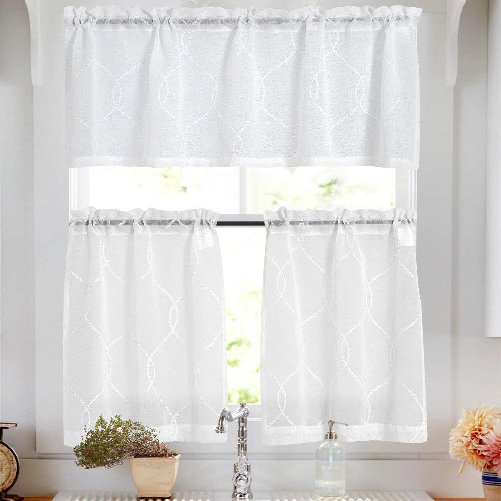 Amazonsmile Sheer Kitchen Curtains 2 Pcs Moroccan Trellis Pattern Embroidered Semi Sheer White Kitchen Tier Cu In 2020 Moroccan Trellis Pattern Curtains Tier Curtains