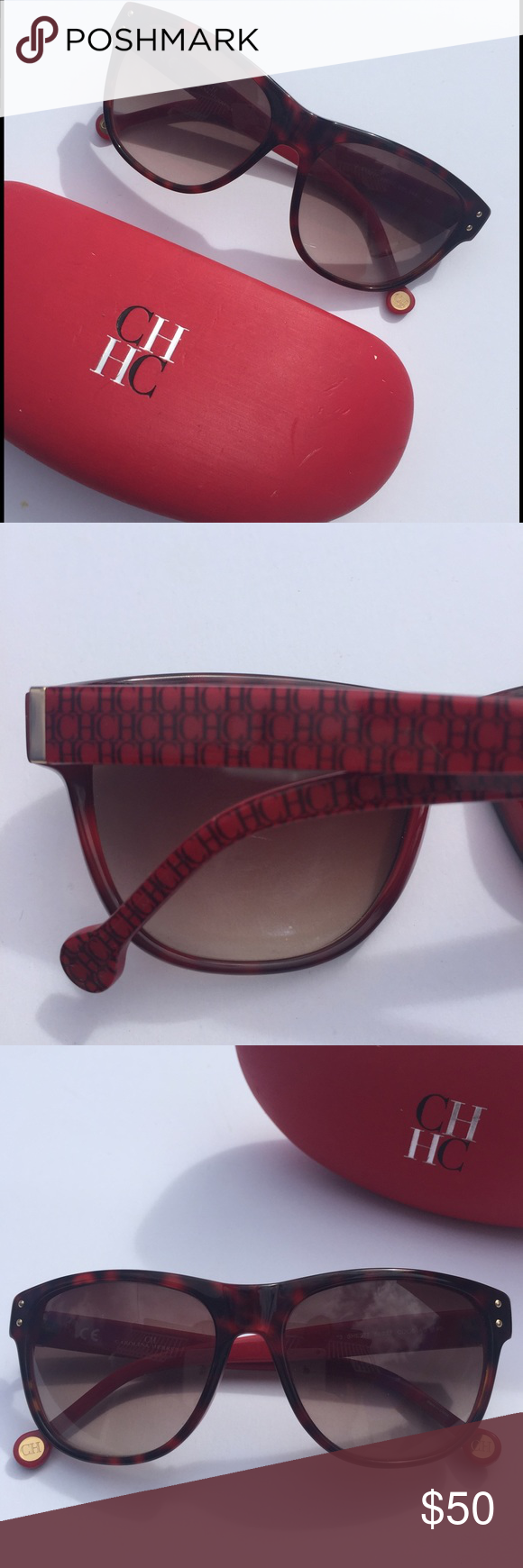16d684d39f16 CH on sides. No major scratches. Comes with case (but case has some wear  and tear). CH Carolina Herrera Accessories Sunglasses
