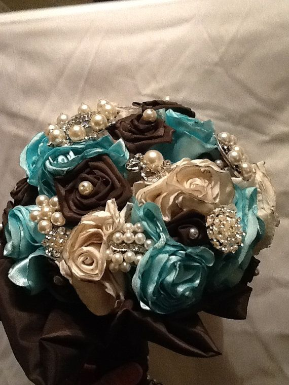 Sale Brooch Bridal Bouquet In Teal Brown And By Sameasnever