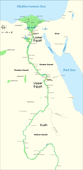 CW Map Of Ancient Egypt Showing Upper And Lower Egypt Deserts - Map of egypt showing nile river