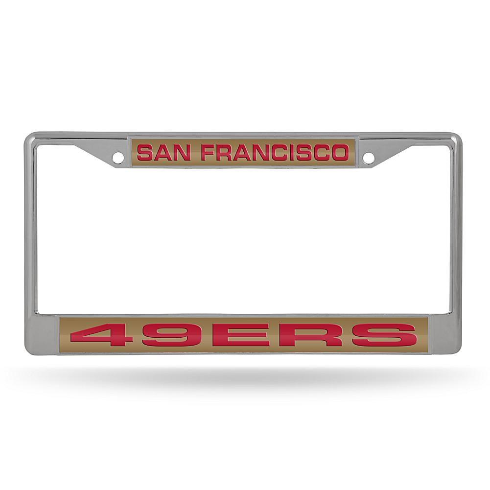 Officially Licensed NFL Laser-Cut Chrome License Plate Frame - 49ers ...