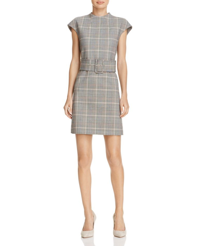 Theory Mod Belted Plaid Dress � Dresses ...