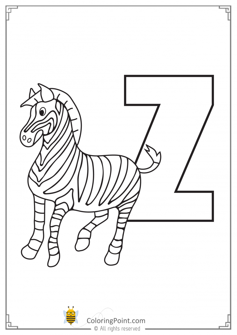 Letter Z Is For Zebra Coloring Page Paper Size A4 2 Zebra Coloring Pages Elephant Coloring Page Zoo Animal Coloring Pages
