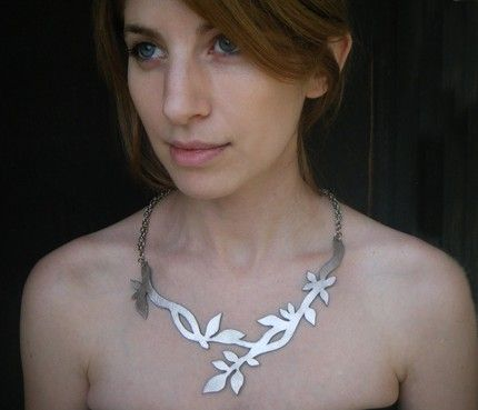 twig leather necklace