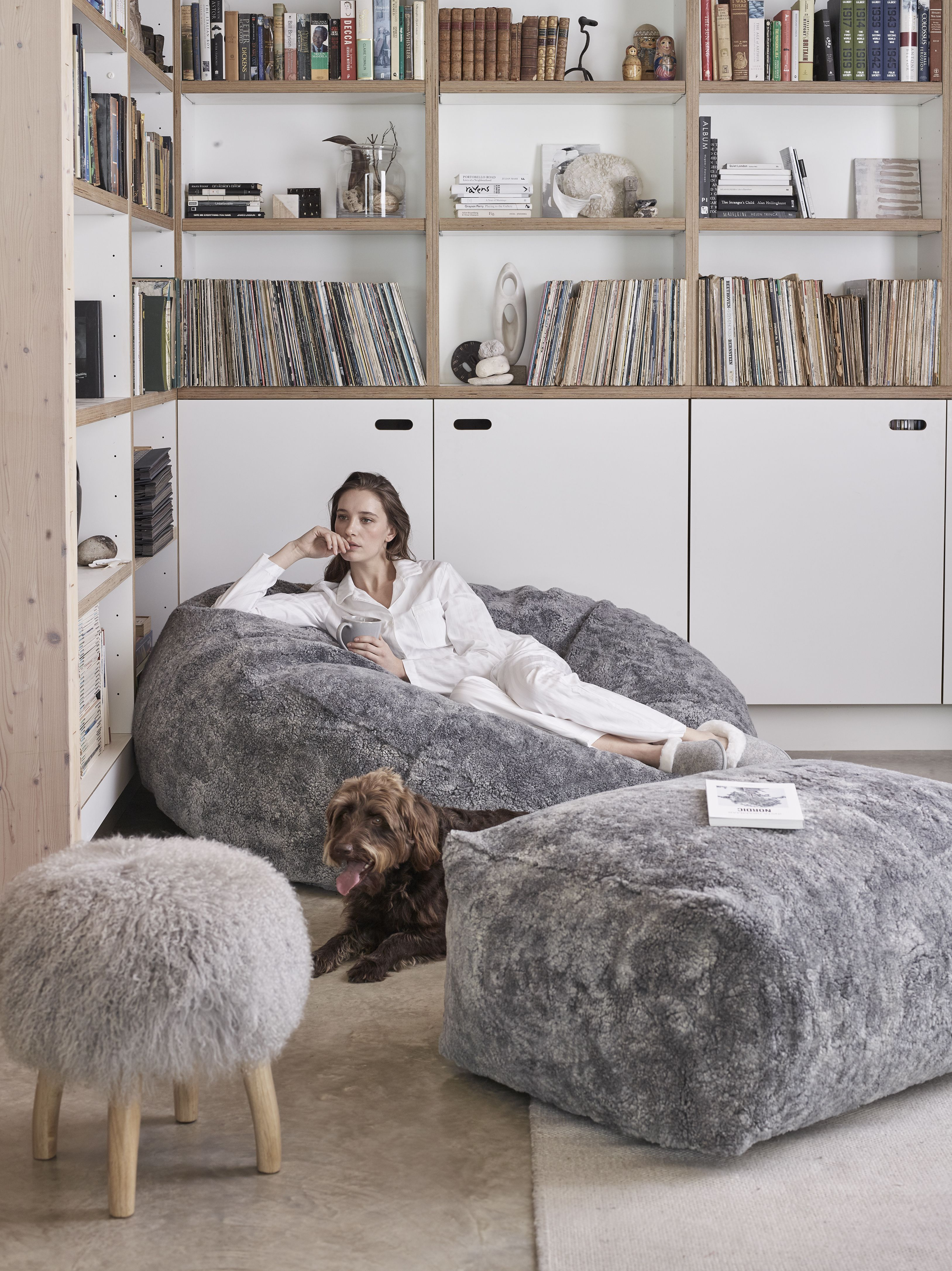 Astounding Curly Sheepskin Beanbag Beanbags The White Company In Ncnpc Chair Design For Home Ncnpcorg