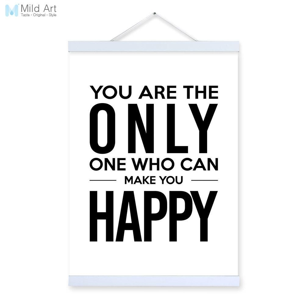 Black white minimalist typography happy quotes wooden framed a