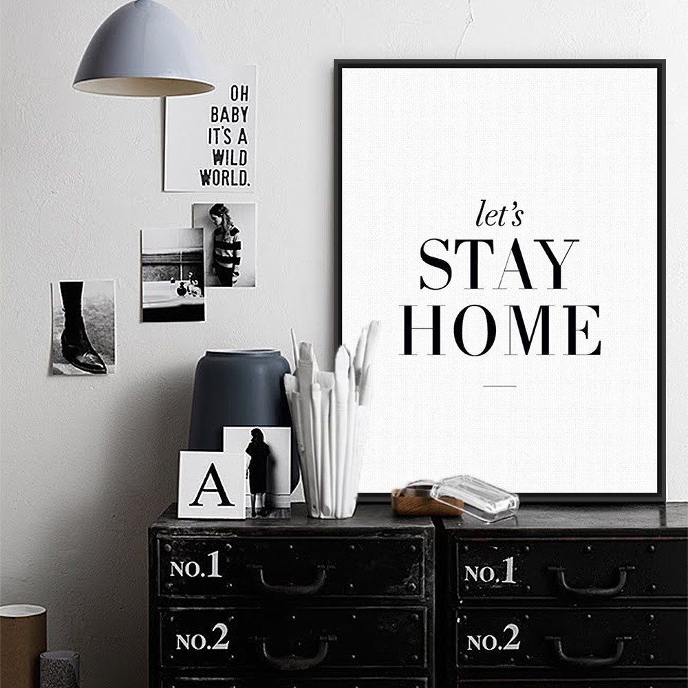 Living Room Wall Art Black White Inspirational Typography Quotes