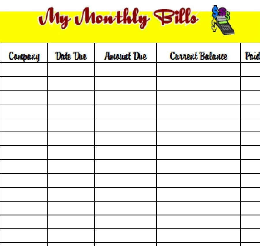monthly bill organizer template excel