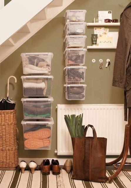 Genial Wonderful 63 Clever Hallway Storage Ideas : 63 Clever Hallway Storage Ideas  With White Brown Wall Storage Stair Table Basket Bag Carpet Flooring
