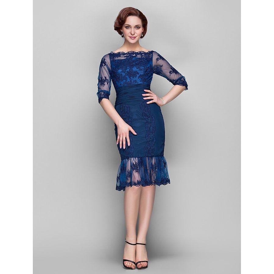 Navy Blue Knee Length Mother Of The Bride Groom Dresses Wedding