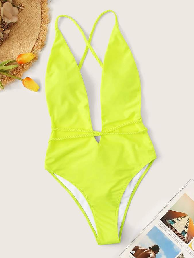 08f2d9652c Shein Neon Yellow U-plunge Criss Cross One Piece Swimsuit in 2019 ...