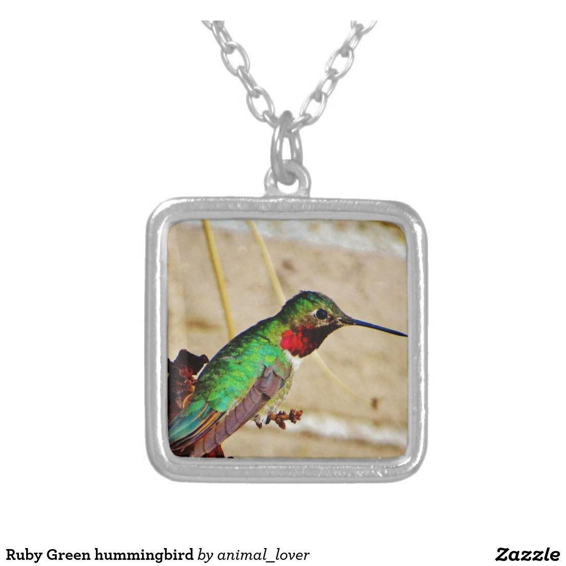 Ruby Green hummingbird Square Pendant Necklace