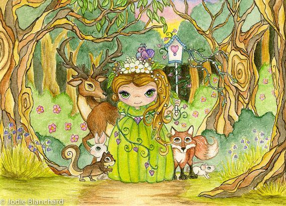 Whimsical Princess Painting Forest Princess Aceo By