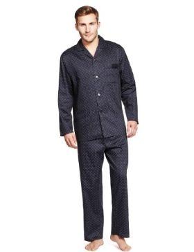 Still look dapper even in your pyjamas: Pure Cotton Revere Collar Spotted Pyjamas