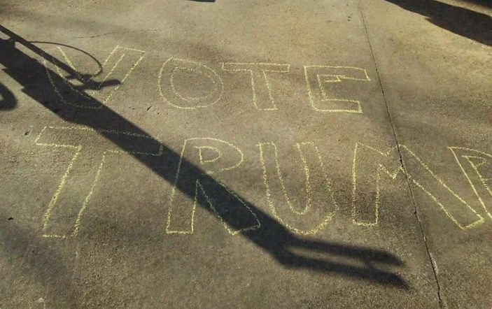 liberals traumatized by harmless pro trump chalk markings on