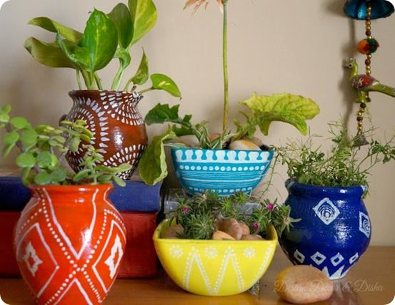 diy home decor handpainted garden pots inspired by anthropologie
