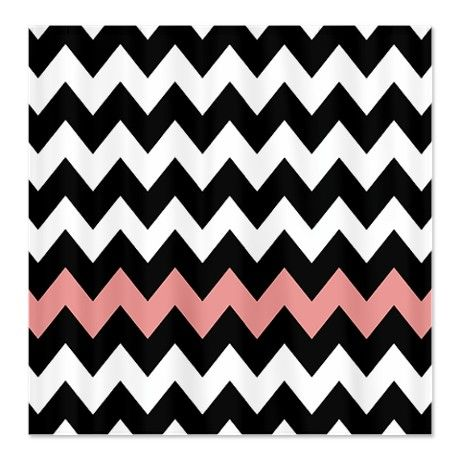 Black And Pink Chevron Shower Curtain