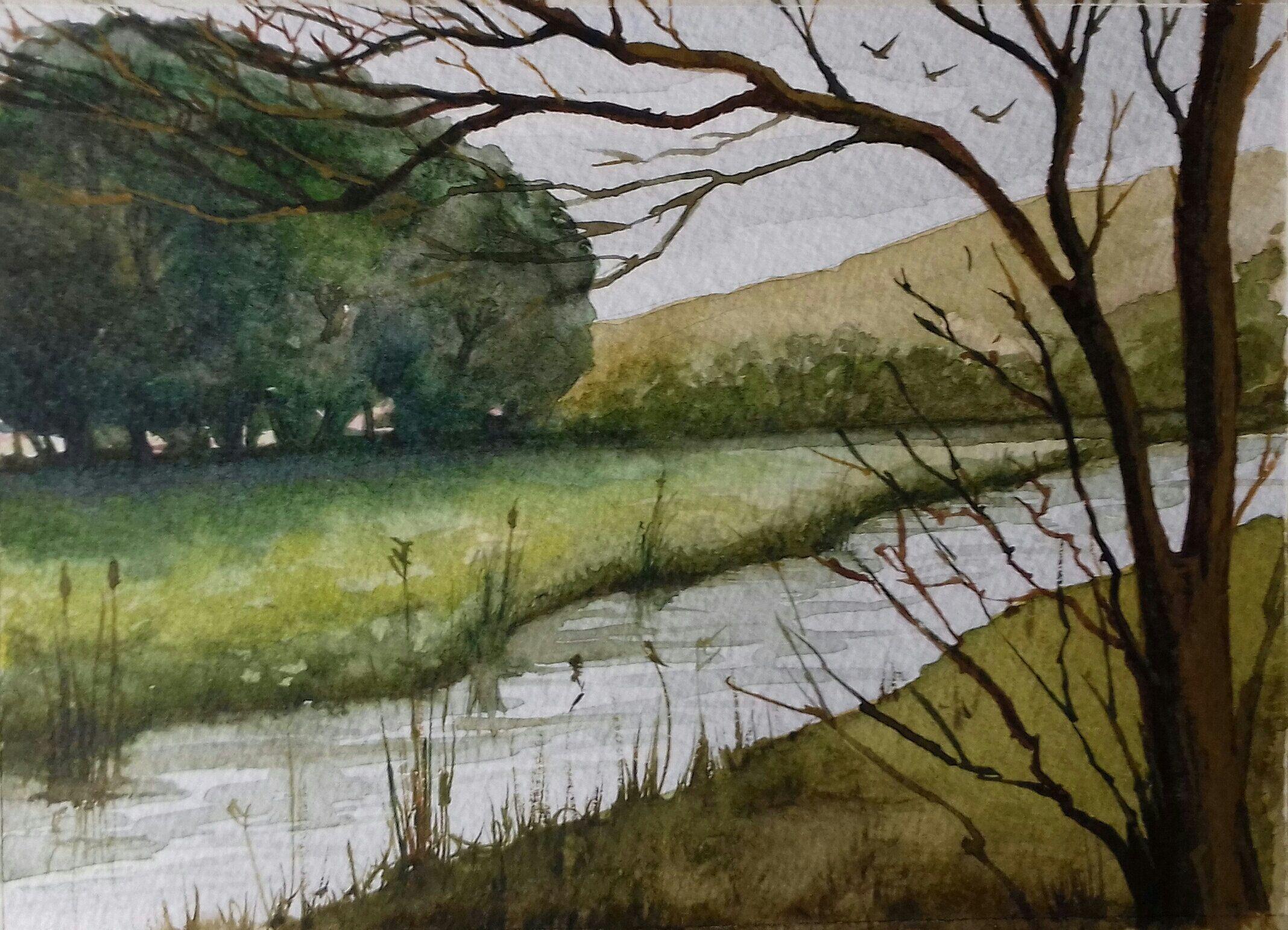 Original Watercolour The Riverbank Landscape Paintings Watercolor Landscape Paintings Watercolor Landscape