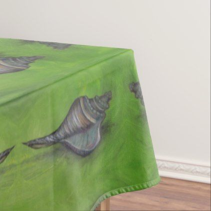 Blue Seashell On Green Tablecloth   Watercolor Gifts Style Unique Ideas Diy